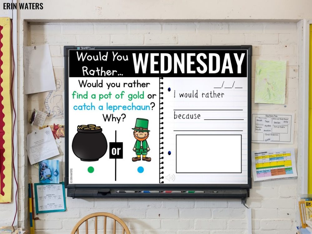 paperless morning journal prompt on whiteboard screen