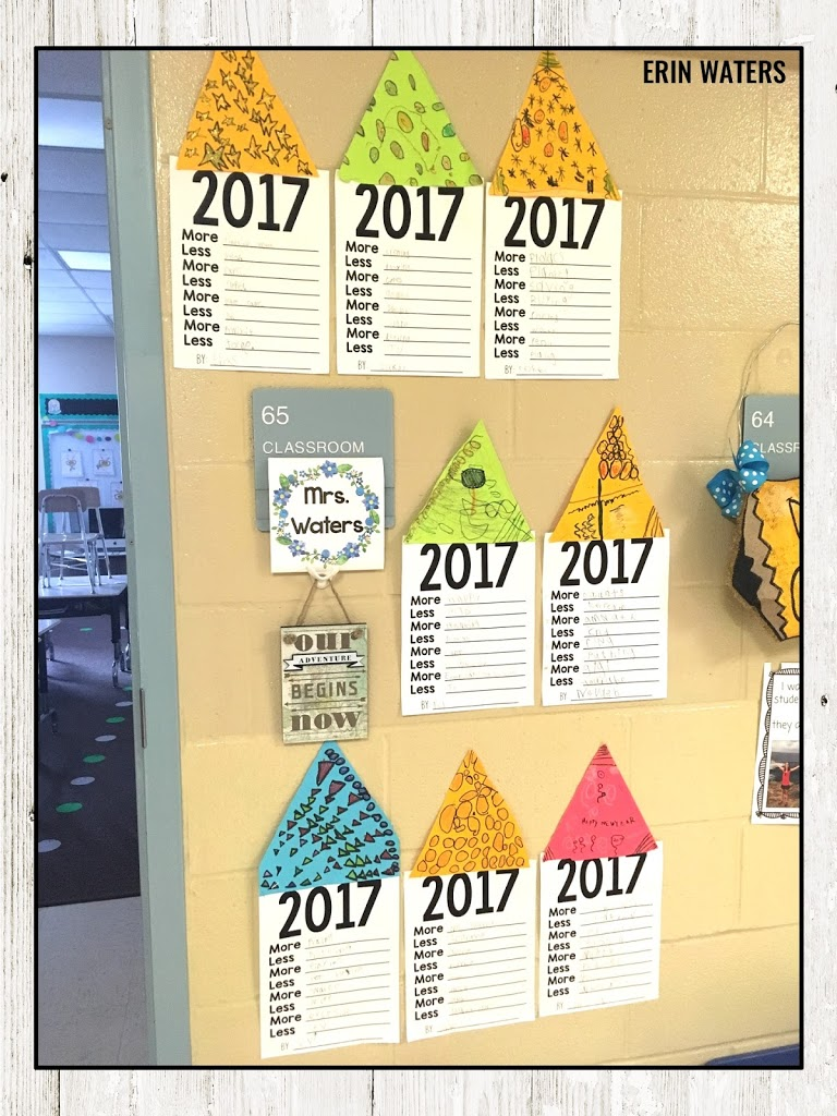 goal setting student pages in hallway display