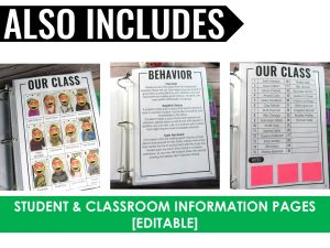 paperless sub plan binder with student information pages