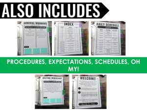 paperless sub plan binder with procedures and expectations and schedules