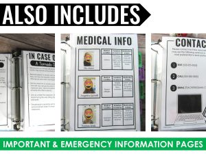 paperless sub plan binder with emergency and medical information examples