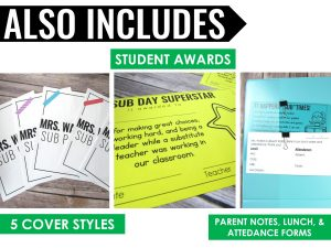 paperless sub plan binder with editable covers, lunch and attendance forms, and student awards
