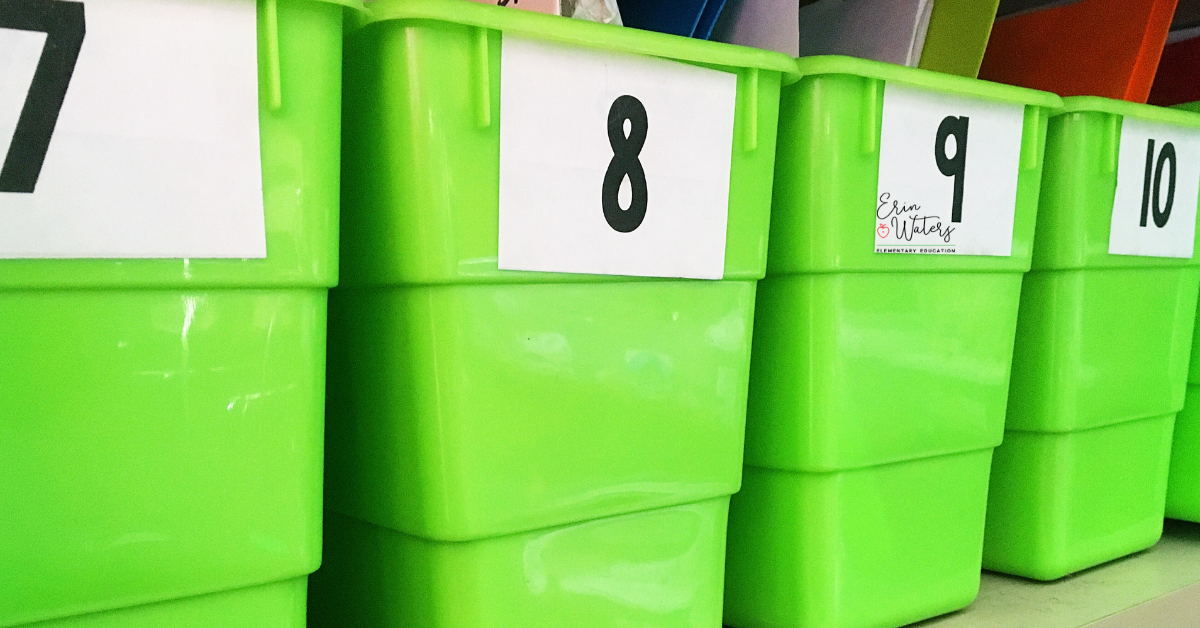 book bins labeled with magic numbers