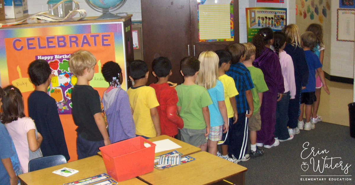 students lining up according to their magic number