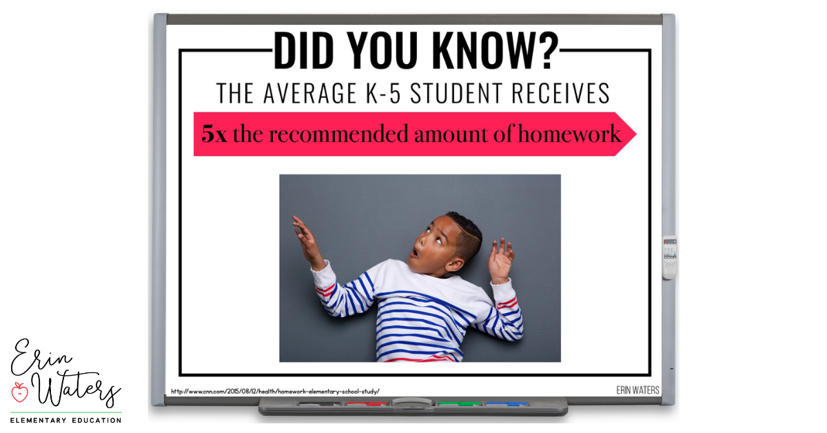 whiteboard showing homework statistics