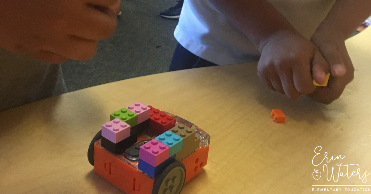 technology teacher's students playing with edison bots