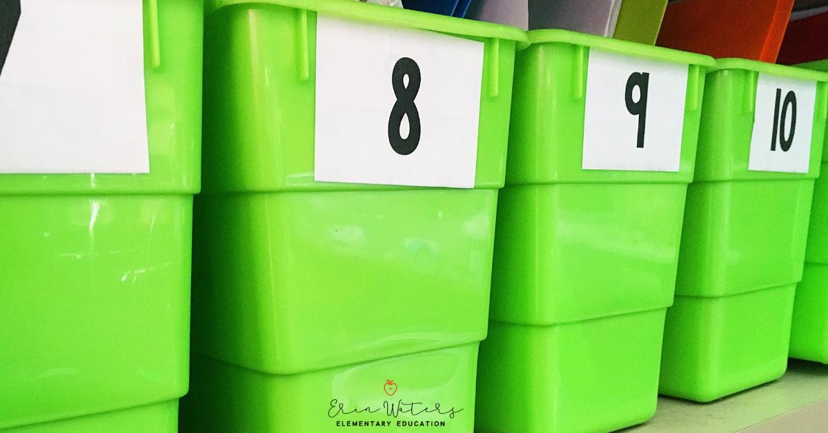 classroom book bins with student number