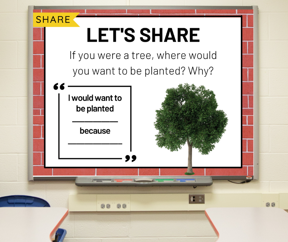 """A morning meeting share slide that reads: """"If you were a tree, where would you want to be planted? Why?"""""""