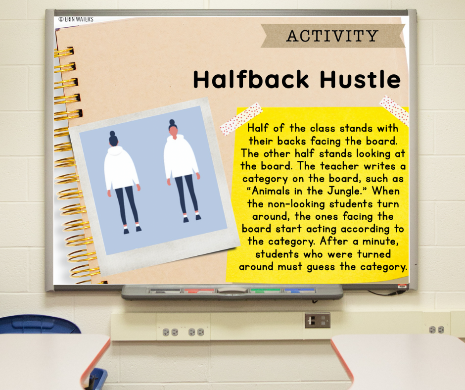 """A slide on a whiteboard with directions for the morning meeting activity called """"Halfback Hustle"""""""