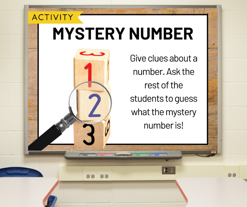 """A slide on a whiteboard with directions for the morning meeting activity called """"Mystery Number"""""""