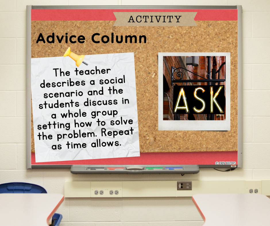 """A slide on a whiteboard with directions for the morning meeting activity called """"Advice Column"""""""