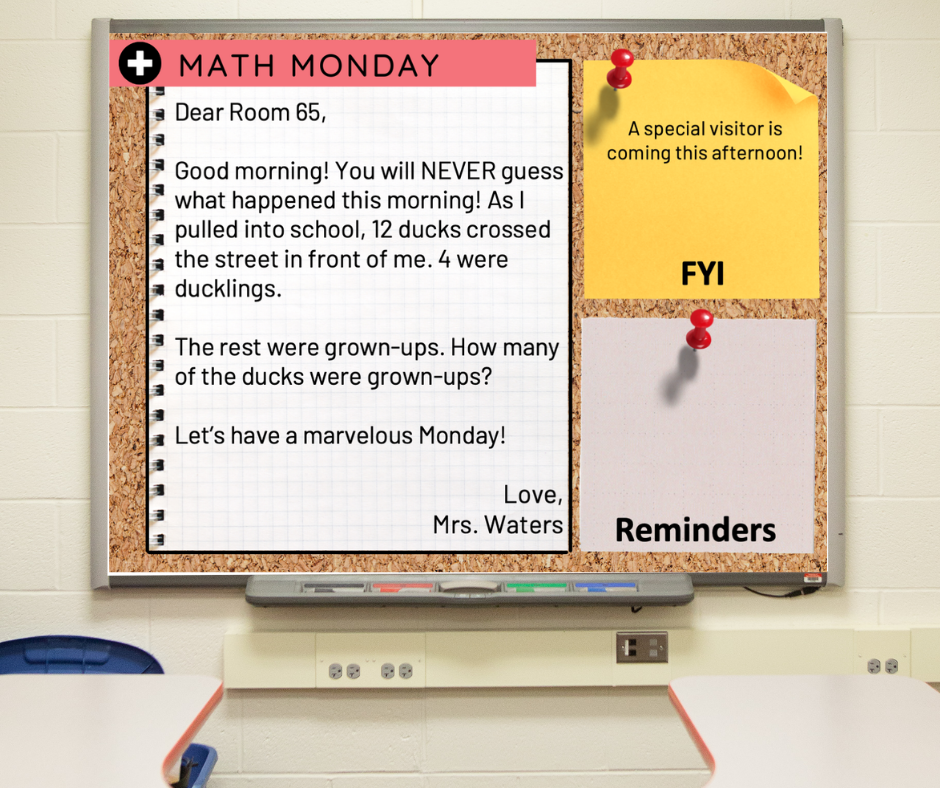 A slide on a whiteboard with a morning message example
