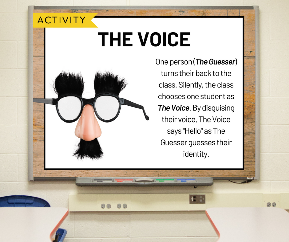 """A slide on a whiteboard with directions for the morning meeting activity called """"The Voice"""""""
