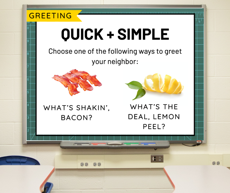 Directions for a morning meeting greeting called Quick + Simple
