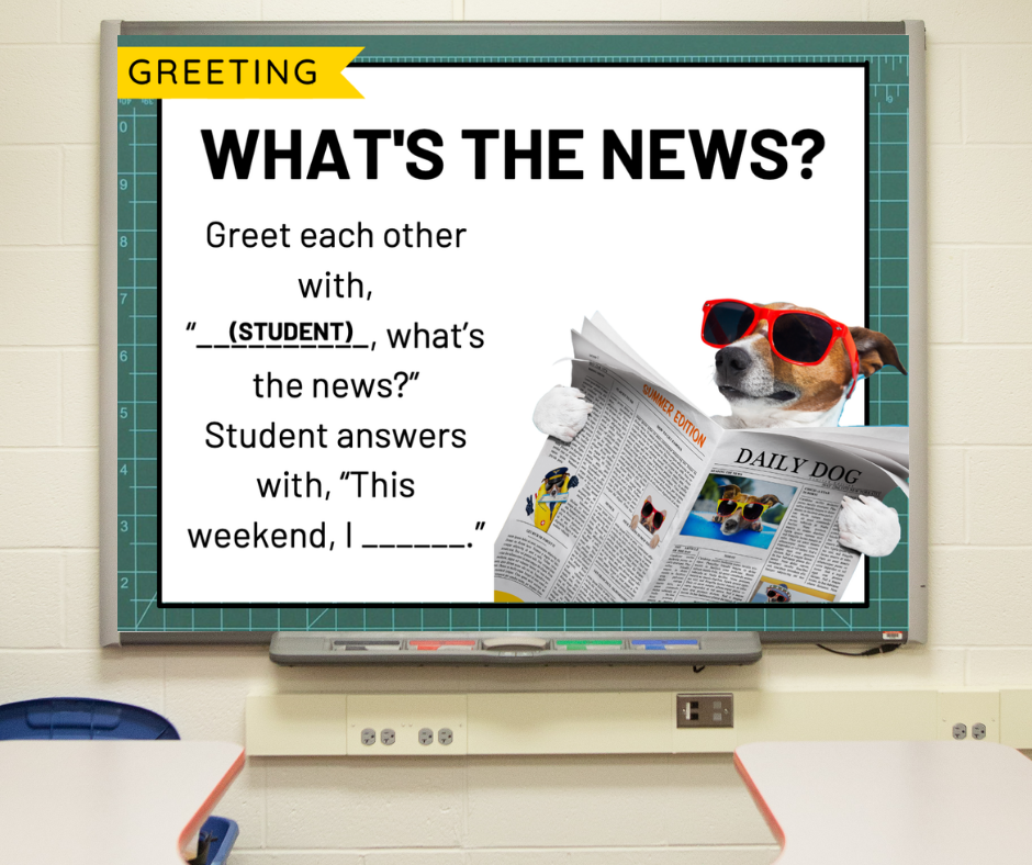 """A morning meeting slide called """"What's the News"""" depicting a dog relaxing"""