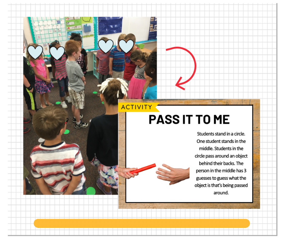 A circle of students playing Pass it To Me, with an inset image of a whiteboard containing rules for the activity