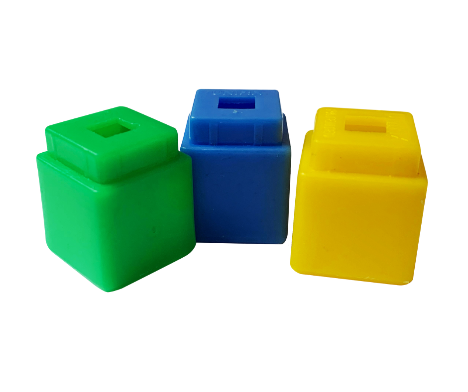 a yellow, blue, and green cube