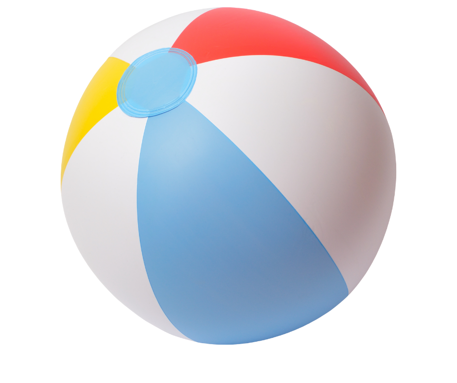 beach ball with red, blue, white, yellow stripes