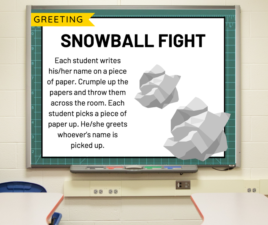 """A morning meeting slide depicting crumpled balls of paper titled """"Snowball Fight"""""""
