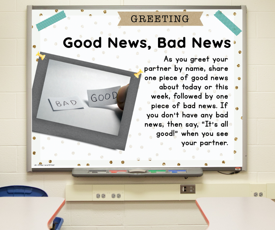 """A slide on a whiteboard that gives directions for """"Good News, Bad News"""" morning meeting greeting."""
