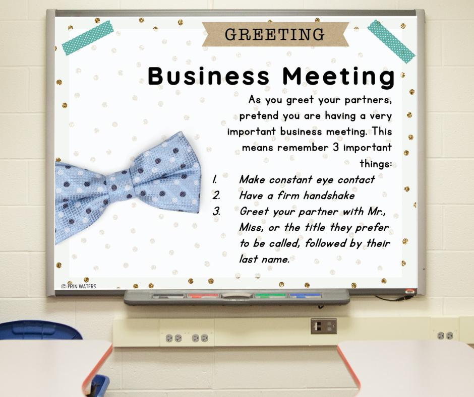 """A slide on a whiteboard that gives directions for """"Business Meeting"""" morning meeting greeting."""