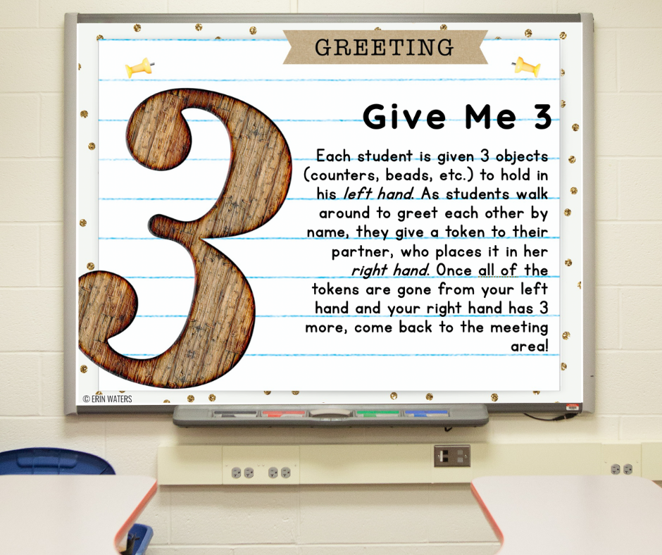 """A slide on a whiteboard that gives directions for """"Give Me 3"""" morning meeting greeting."""