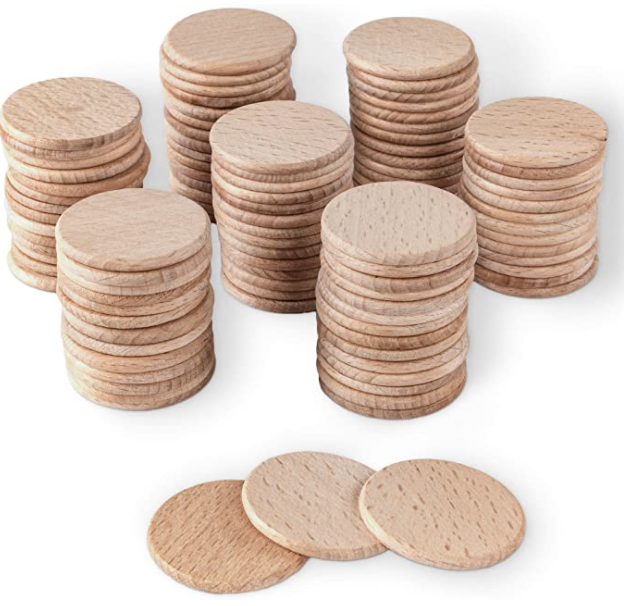 a stack of wooden tokens