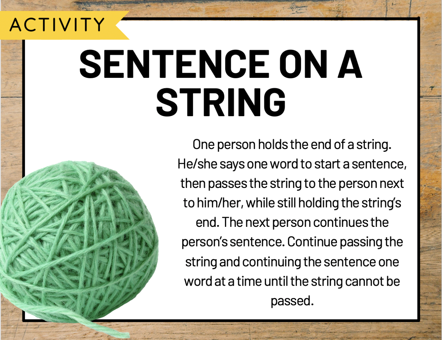 """A whiteboard slide depicting the activity, """"Sentence on a String"""""""
