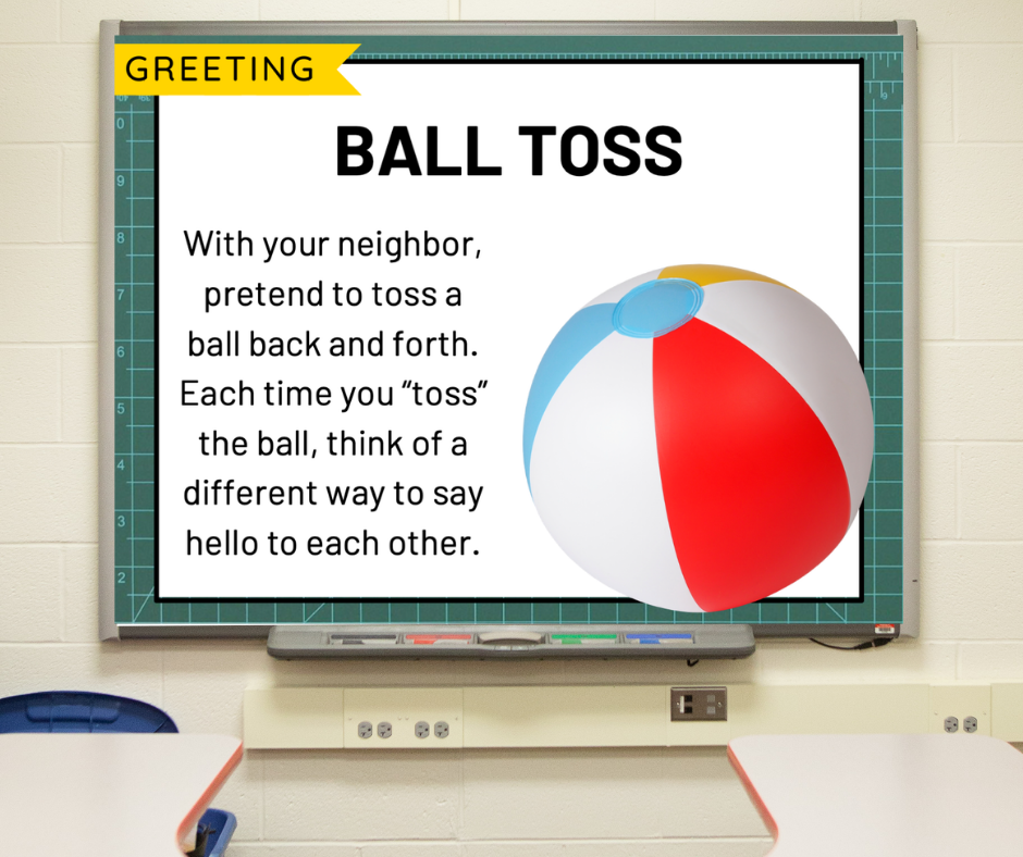 A morning meeting greeting slide that reads directions for Ball Toss.