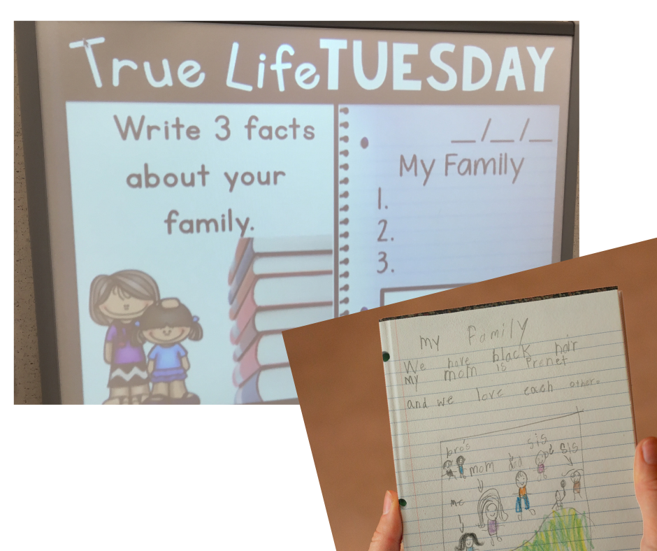 """Morning meeting prompt that says """"Write 3 facts about your family"""" and a journal response example."""