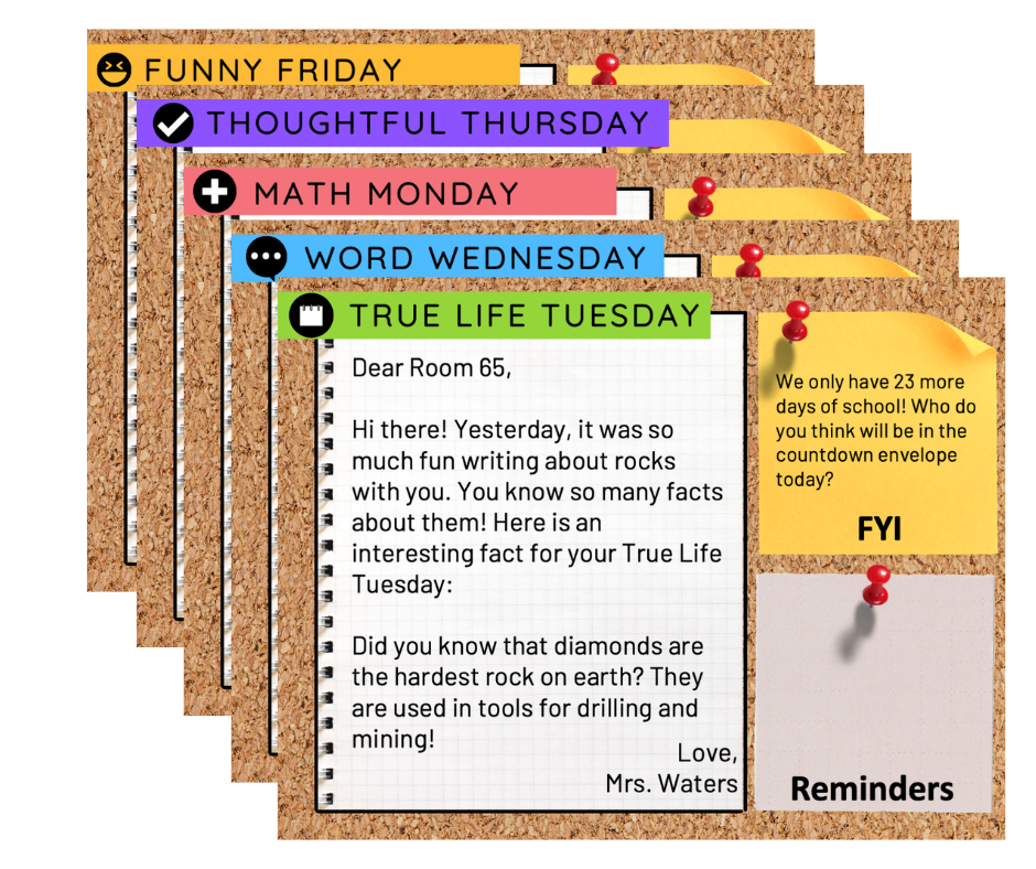 A cluster of slides showing Morning Meeting messages with daily themes like True Life Tuesday, Word Wednesday, Math Monday, Thoughtful Thursday, and Funny Friday
