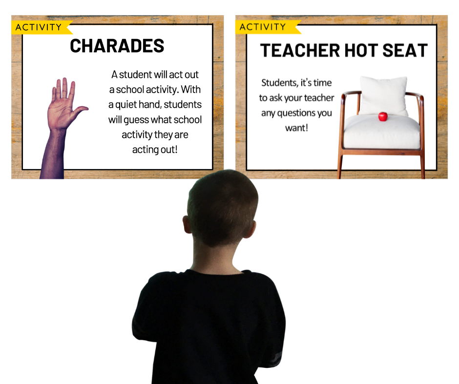 2 whiteboards showing directions for morning meeting activities called Charades and Teacher Hot Seat